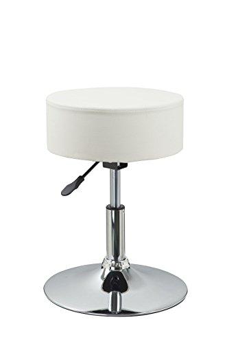 Drehhocker Sitzhocker Creme Hocker RUND höhenverstellbar aus Kunstleder Duhome 0463
