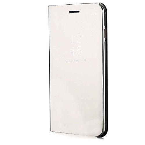 Funyye-Clear-View-Flip-Custodia-Cover-per-iPhone-66SLusso-Elegante-Specchio-Copertura-Trasparente-Placcatura-Multifunzionale-con-Funzione-Stand-Full-Body-Cassa-CuoioMetalli-Ultra-Anti-Scratch-Sottile-