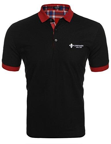 COOFANDY Herren Poloshirt Kurzarm Einfarbig Sommer T-Shirt Men's Polo Shirt(Schwarz,XXL)