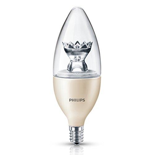 Dekorative Gebogene Spitze (Philips 2.5-watt dimmbar LED B13Kandelaber Boden Dekorative Kerze Leuchtmittel, Weiß (Soft White), 1 Packung 2.5  120 volts)