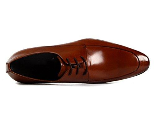 Scarpe Uomo in Pelle Scarpe in pelle da uomo pizzo commerciali Abiti formali traspirante a punta ( Colore : Nero , dimensioni : EU45/UK9 ) Marrone