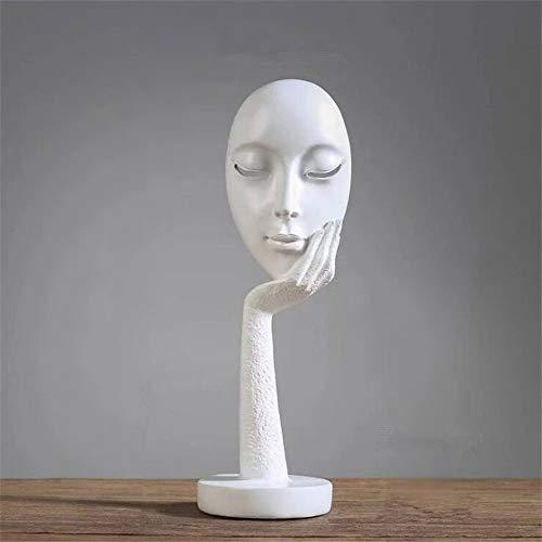 QWERWEFR Moderne menschliche Meditierende abstrakte Dame Face Character Resin Statues Sculpture Art Crafts Figurine Home Decorative Display,A