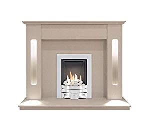 The Hollywood in Beige Stone with Crystal Diamond Contemporary Gas Fire in Brushed Steel, 54 Inch