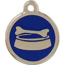 Personnalisé Médaille pour Animal domestique en forme de Bol à Os Bleu (Moyen) | SERVICE DE GRAVURE | Médaille pour Chien et Chat Personnalisée avec Design Coloré