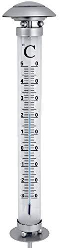 Solar Gartenthermometer | LED beleuchtet | inkl. Erdspieß | Höhe: 112 cm | Thermometer mit Solarbeleuchtung