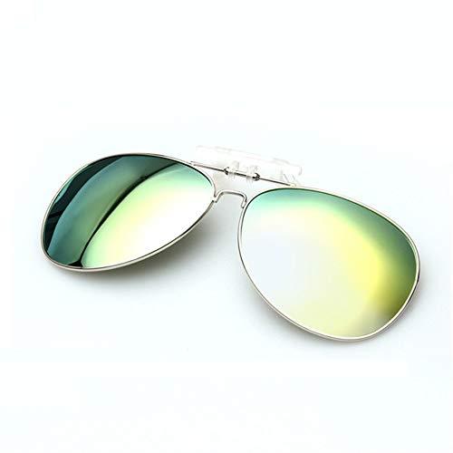 MOJINGYAN Sonnenbrillen,Marke Fashion Designer Polarized Clip Auf Sonnenbrillen Männer Frauen Piloten Sonnenbrille Uv400 Clip Myopie Nachtfahrten Gläser Grün