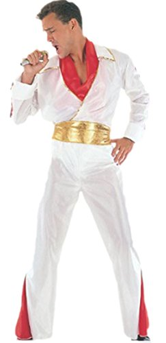 erdbeerloft - Herren Rock'n'Roll Rockstar Elvis Kostüm mit Schal und Gürtel, onesize, M-L, Weiß (Gürtel Kostüm Elvis)