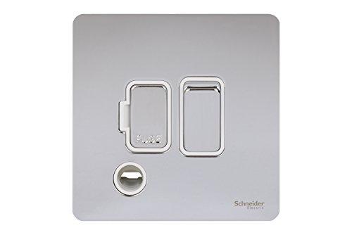 Schneider Electric Ultimate 13a DP Switched mit Flex-Steckdose, aus poliertem Chrom, Weiß (Flex-steckdose)