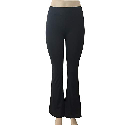 XUPHINX Anzughose für Frauen Schlank Bootcut Stretch Hohe Taille Breites Bein Ausgestelltes Bell Bottom Hose für Fitness Yoga Laufen Workout Schwarz S (Schwarze Stretch-bell Bottoms)