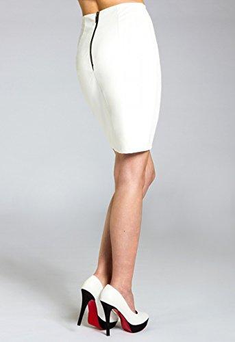 CASPAR RO009 Damen Bleistiftrock Weiß