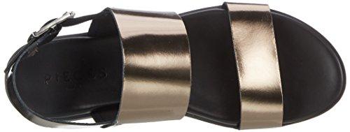Pieces Pslane Leather Gun, Sandales Compensées Femme Gris (Gunmetal)