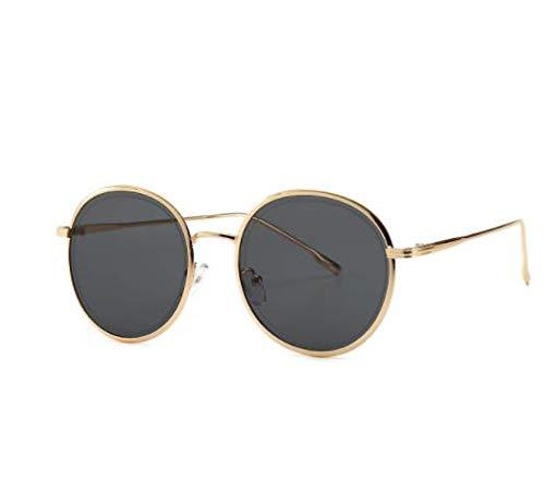 WENZHEN Ins Style Small Metal Frame Frauensonnenbrille, schwarz