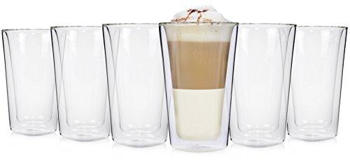 Sänger 6er Set 250 ml doppelwandiges Latte Macchiato Gläserset | Thermoglas Doppelwandig mit...
