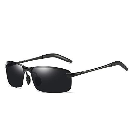 AMZTM Rechteckig Polarisiert Ultraleicht Sonnenbrille für Herren, Sport Angeln Fahren Draussen Brille, HD Linse Metallrahmen Treiber Glasses(Schwarz Rahmen, Grau Linse)