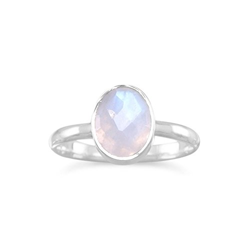 Ring Mondstein Stapelbar (Sterling Silber facettiert 7mm x 9mm oval Regenbogen Mondstein stapelbar Ring–Größe P 1/2)