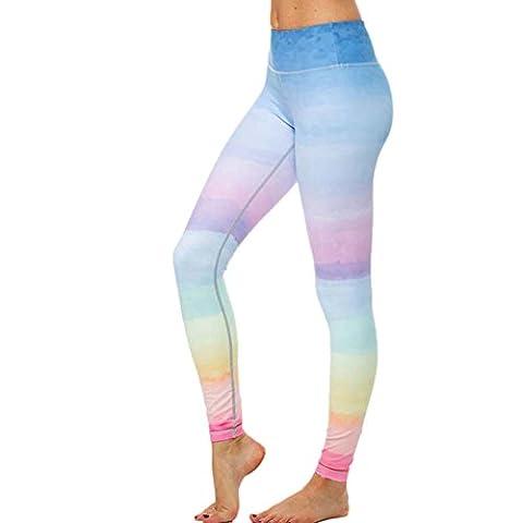 OverDose Women High Waist Fitness Yoga Sport Pants Printed Stretch Nine Points Leggings (Small,