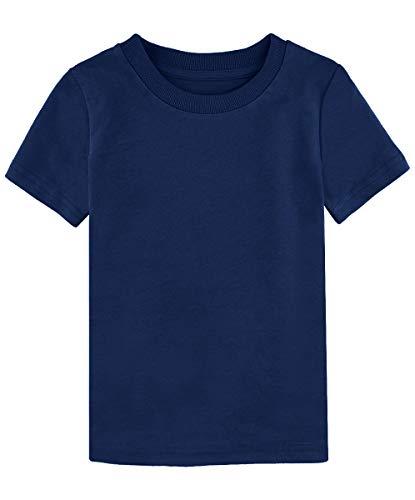MOMBEBE COSLAND Jungen Baumwolle T-Shirt Marine Basic Tops Kurzarm (Marine, 86/12-18 Monate) -