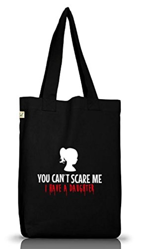 Shirtstreet24, Halloween - You Can't Scare Me, Jutebeutel Stoff Tasche Earth Positive Black
