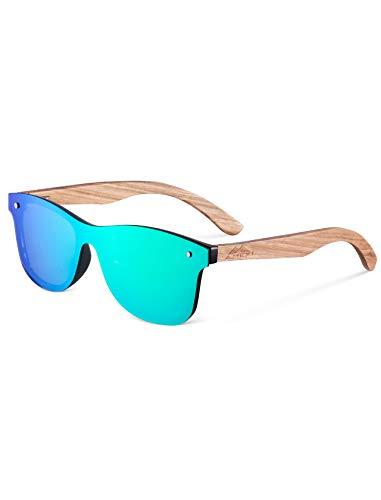 Amexi Herren und Damen Polarisierte Sonnenbrille mit Holzbügeln, UV-Schutz, mit Brillen-Etui, Schraubenzieher, Brillen tuch und Tasche (Grün)