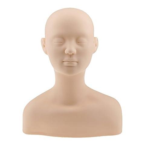 Gazechimp Silicone Buste de Mannequin pour Formation de Maquillage de Visage et Massage du Cou Epaule Tête