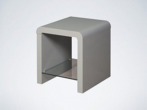 Couchtische Atlanta (Atlanta grau Lampe Tisch–Grau Ende mit Glas Regal–Wohnzimmer Möbel)