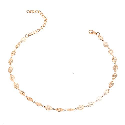 Tpocean Klassische Gold Choker Halskette Elegante Schlüsselbein kette Gold überzogene Blatt Herz Oval Hohl Stern Platz Halskette Schmuck für Frauen Mädchen Damen (Gold (Zum Kostüme Alien Verkauf)