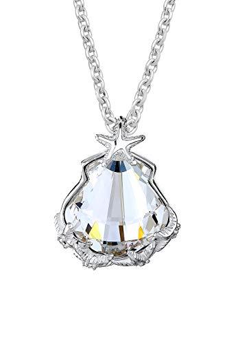Elli Damen-Halskette mit Anhänger Muschel Seestern silber 925 Swarovski Kristall weiß - 45cm Länge