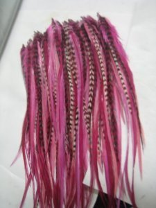 Feather Hair Extensions 6-10 Pink with Grizzly and Brown Feathers That Are Quality Salon by SEXY (Extensions Neon Hair)