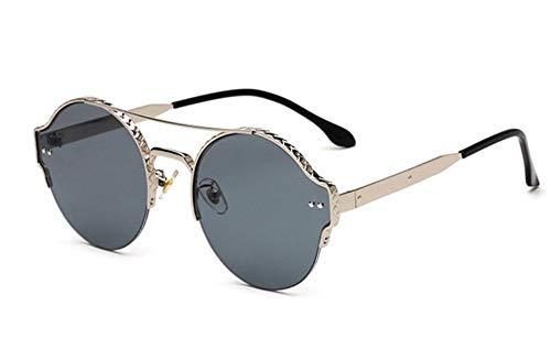 Sonnenbrille, Vintage Frauen Männer Metall Rund Die Hälfte Frauen Cat Eye Frame Sonnenbrillen Sonnenbrillen Sonnenbrillen Für Damen Sonnenbrillen Silber Grau