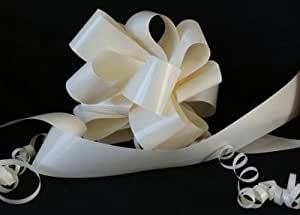 "Wedding Car Kit. 3 x 50mm Cream (assembled / ready made ""NOT"" flat packed) Pull Bows. Plus 1 x 6m of 2"" Cream Florist Ribbon. The perfect Item For Wedding Cars"