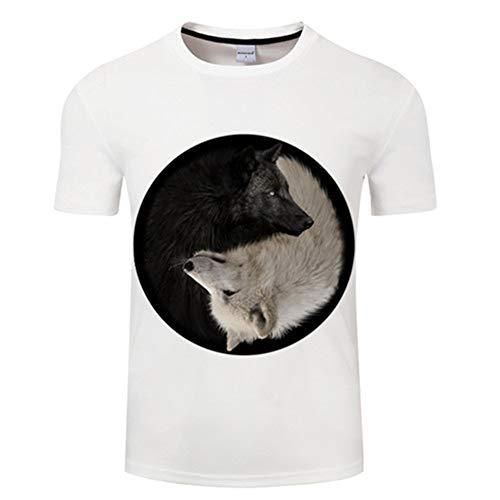 LeeQn Unisex 3D Gedruckt T-Shirt Kurzarm Sweatshirt Pullover Tees Für Männer Jungen Frauen Schwarzweiss-Wolf ()