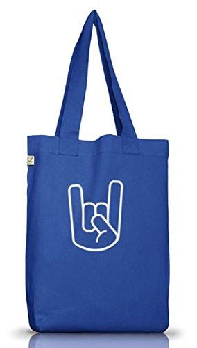 Shirtstreet24, ROCK METAL HAND, Hurricane Metal Jutebeutel Stoff Tasche Earth Positive (ONE SIZE) Bright Blue