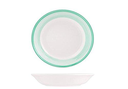 H&H Capri Piatto Ceramica Fondo, 21 cm, Verde Scuro, 1 pz