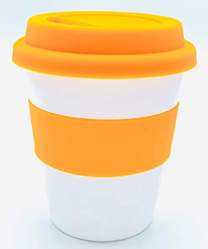 eNWe Coffee to go Becher 350 ml - Kaffeebecher Reisebecher Mehrweg mit Deckel & Griff (orange) aus Silikon für Deine Heißgetränke wie Kaffee, Cappuccino, Tee und Kakao