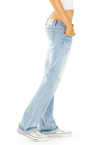 Bestyledberlin Damen Bootcut Jeans Hosen, Hüftjeans Destroyed j71kwn Light Blue