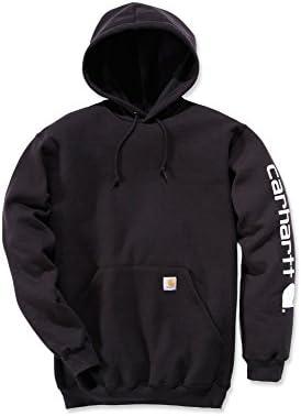 Carhartt Midweight Signature Sleeve Logo Hooded Sweatshirt–Sudadera con capucha (S, Negro)
