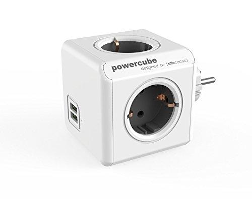 Dr. Bott Multi-Cube Original DuoUSB Grau, Würfel-Stecker für 4 Stecker und 2 USB Ports, Reise-Adapter und Mehrfach-Steckdose ohne Kabel, 230V Schuko