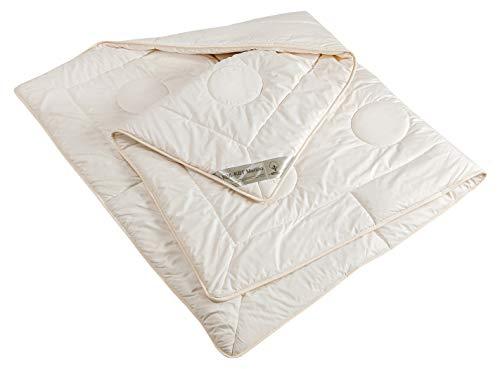 moebelfrank Bettdecke kbt & kba Schurwolle leichte Ganzjahres-Decke Bio Baumwolle Steppbett Bett waschbar Nadia, Größe:155 x 220