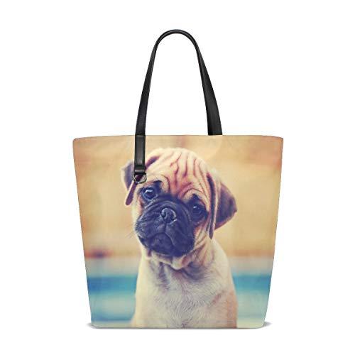 Retro niedliche Mops-Hündchen-Einkaufstasche-Geldbeutel-Handtasche für Frauen-Mädchen