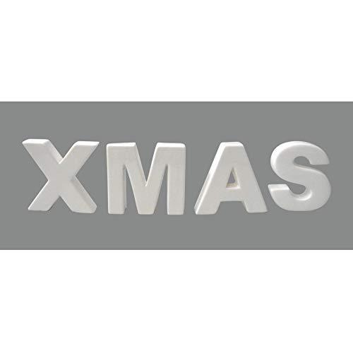 wohnfuehlidee Keramik-Dekobuchstaben-Set Xmas, 4-TLG, 9-11 cm