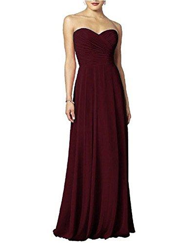 KAIDUN Damen Schulterfrei Chiffon Abendkleider Lange Brautjunferkleid Burgundy 38