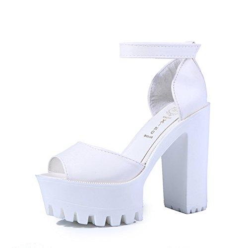 Mulheres Zormey Sandálias Nova Plataforma Toe 2016 Sapatos De Verão Aberto Calcanhar Grosso De Salto Alto Preto Tamanho Branco 35-39 6/5
