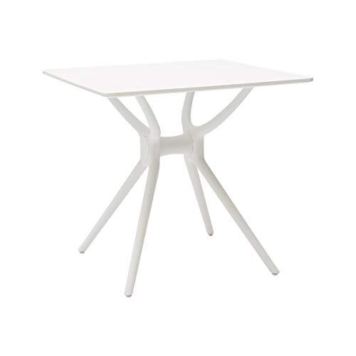 ARREDinITALY Table carrée avec Plateau Bois laqué Blanc et Structure en polypropylène Blanc. (arr604)