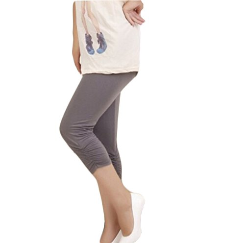 Bold N Elegant Women's Grey Maternity wear Casual Capri Pregnancy Pants with Adjustable Elastic Waist