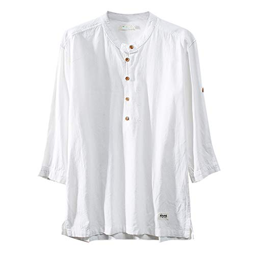 Crazboy Herren Baumwoll Leinen Shirts Stehkragen Sommer Freizeithemd Kurzarm Tops Shirt(Large,Weiß)