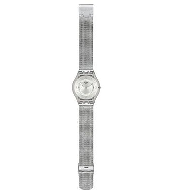 Reloj de mujer Swatch Metal Knit SFM118M de cuarzo, correa de acero inoxidable color plata de Swatch
