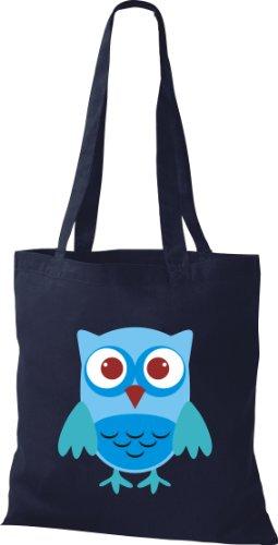 Stoffbeutel Bunte Eule niedliche Tragetasche Owl Retro diverse Farbe blau
