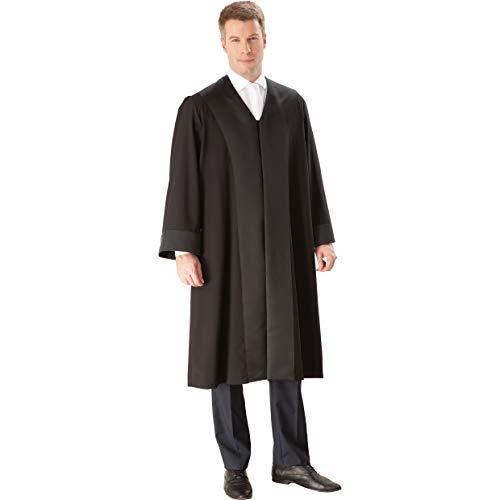 die Robe - Schwarze Rechtsanwalts-/Anwaltsrobe für Herren aus Reiner Schurwolle mit Atlas Besatz - Größe L (48/50)