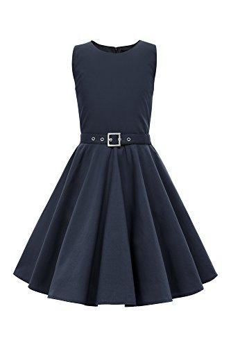 r 'Audrey' Vintage Clarity Kleid im 50er-J-Stil (Nachtblau, 13-14 J / 158-164) (50er-jahre-mädchen)
