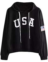 Damen Brief Fahne Gedruckt Hoodies Pullover,Yanhoo Mode Frauen USA Brief  Bedrucktes Lässige Locker Sweatshirt 280a060bc6